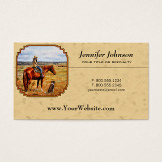 Little Cowgirl on Cattle Horse Yellow Business Card
