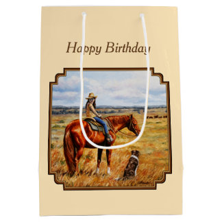 Little Cowgirl on Cattle Horse Yellow Medium Gift Bag