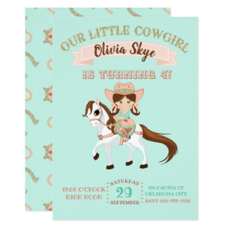 Little Cowgirl on Horse Girls Birthday Card