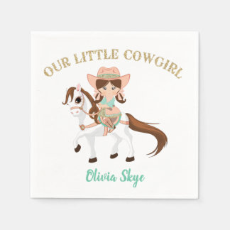 Little Cowgirl on Horse Girls Western Birthday Paper Serviettes