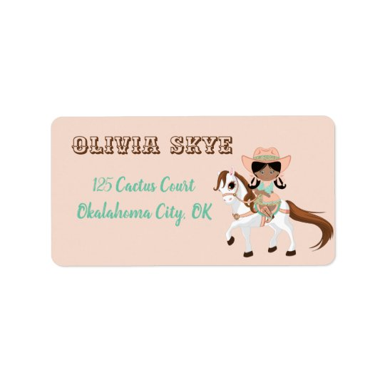 Little Cowgirl on Horse Girls Western Label