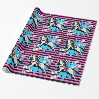 Little Cowgirl Running Horse Happy Birthday Wrapping Paper