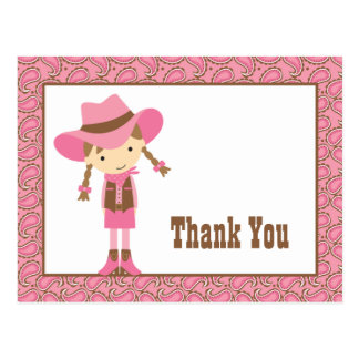 Little Cowgirl Thank You Postcard