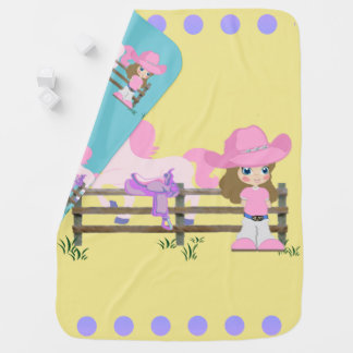 Little Cowgirl With Horse Fence and Saddle Baby Blanket