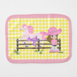 Little Cowgirl With Horse Fence and Saddle Burp Cloth