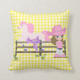 Little Cowgirl With Horse Fence and Saddle Cushion