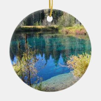 Little Crater Lake Round Ceramic Decoration