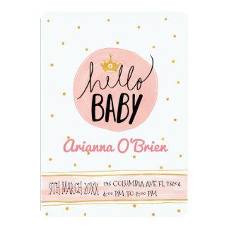 Little crown golden speckles royal baby shower card
