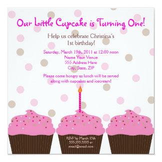 Little Cupcake 1st Birthday Invitation - Square