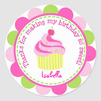 Little Cupcake Birthday Party Favor Stickers Label