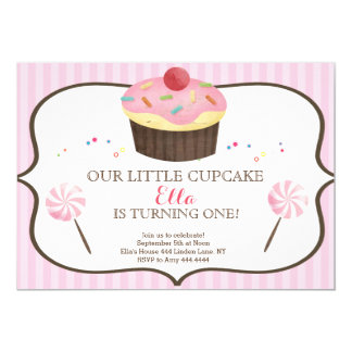 Little Cupcake First Birthday Candy land 13 Cm X 18 Cm Invitation Card
