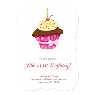 Little Cupcake First Birthday Invitation