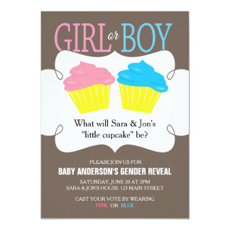 Little Cupcake Pink or Blue Gender Reveal Party Card