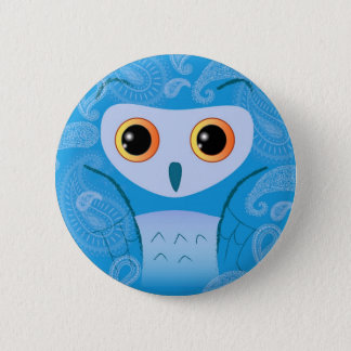 Little cute blue paisley owl 6 cm round badge