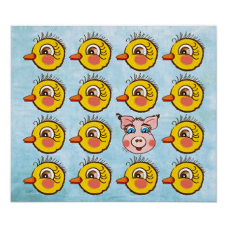Little cute Chick and pig . poster