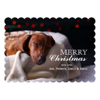 Little Cute Dachshund Puppy On Christmas Card