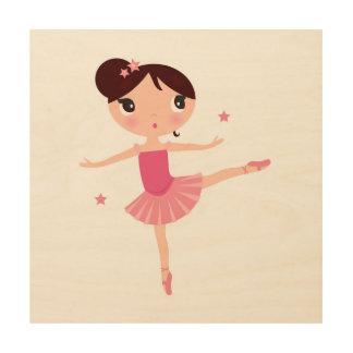Little cute dancing balerina wood wall decor