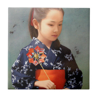 LIttle cute japanese girl kimono portrait painting Tile
