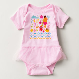 Little cute kids body : pink with Sea creatures Baby Bodysuit