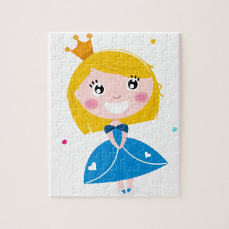 Little cute princess Blue Jigsaw Puzzle