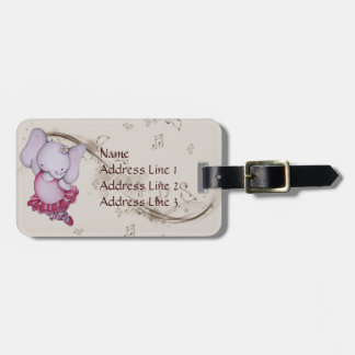 Little Dancing Ballerina Elephant Luggage Tag