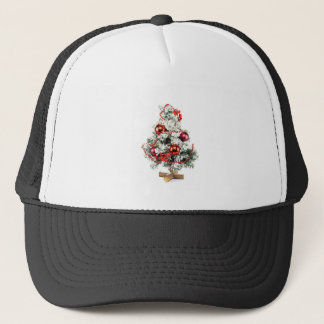 Little decorated christmas tree with baubles trucker hat