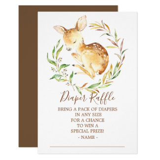Little Deer Baby Shower Diaper Raffle Ticket Card