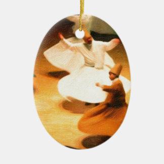 little dervishes ceramic oval decoration