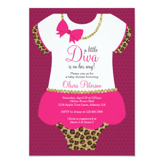Little Diva Baby Shower Invite, Cheetah, Faux Gold Card