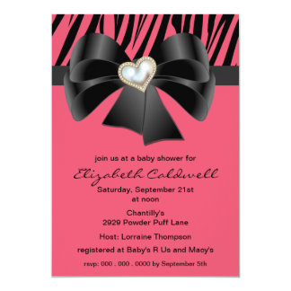 Little Diva Zebra Print & Bow Baby Shower Invite