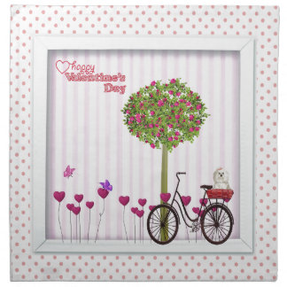 Little Dog, Basket, Bicycle, Flower Tree and Heart Napkin