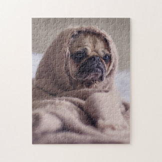 Little doggy feel cold jigsaw puzzle