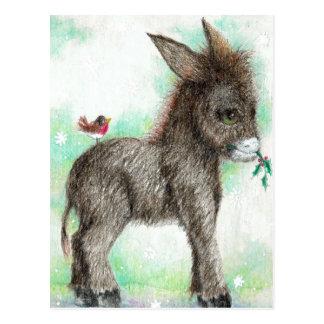 Little Donkey wonk and birdy friend Robin Postcard