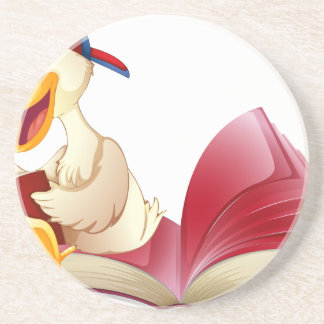 Little duck reading a book coasters
