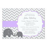 Little Elephant Chevron Editable Colour Baby 13 Cm X 18 Cm Invitation Card