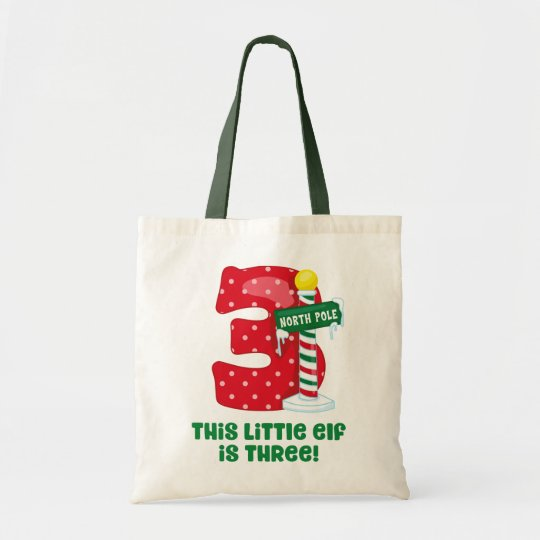 Little Elf 3rd Birthday Tote Bag