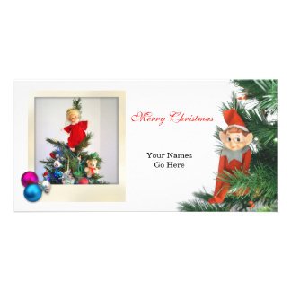 Little Elf Christmas with ornaments Custom Photo Card