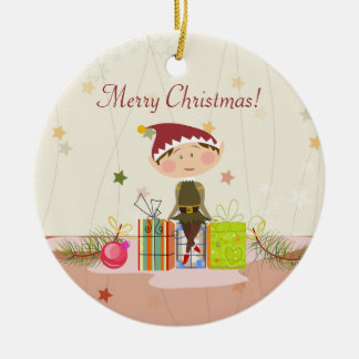 Little Elf-Girl and Christmas Presents Ceramic Ornament