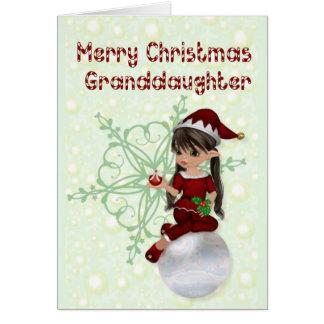 Little Elf Merry Christmas Granddaughter Greeting Card