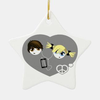Little Emo Kids Christmas Ceramic Star Decoration