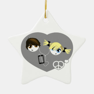 Little Emo Kids Christmas Double-Sided Star Ceramic Christmas Ornament