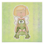 Little Fairy Girl Riding Turtle Poster