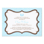 Little feet blue and brown baby shower invite