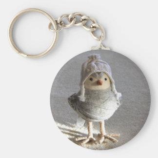 Little Felt Birdie with Hat Basic Round Button Key Ring