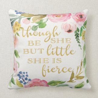 Little Fierce Baby Girl Boho Floral Nursery Pillow