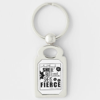 Little & Fierce - Black & White Silver-Colored Rectangle Key Ring