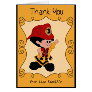 Little Firefighter Baby Shower Thank You Note Card