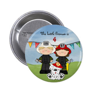 Little Fireman Birthday - Customize 6 Cm Round Badge