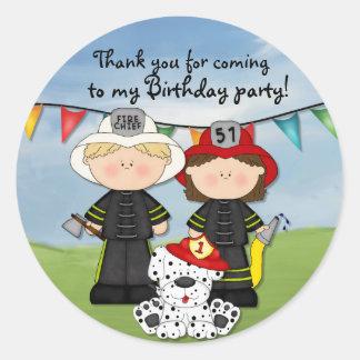 Little Fireman Birthday - Customize Round Sticker
