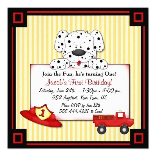 Little Fireman First Birthday Invitation